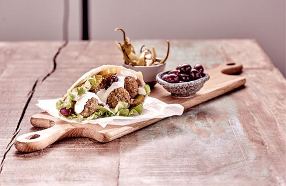 Pita sandwich with falafel and cheese