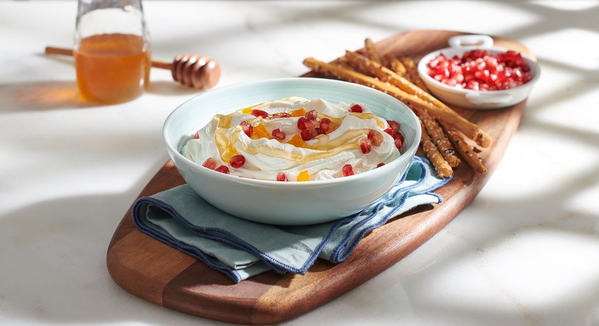 Puck Labneh Dip with Apricot and Pomegranate