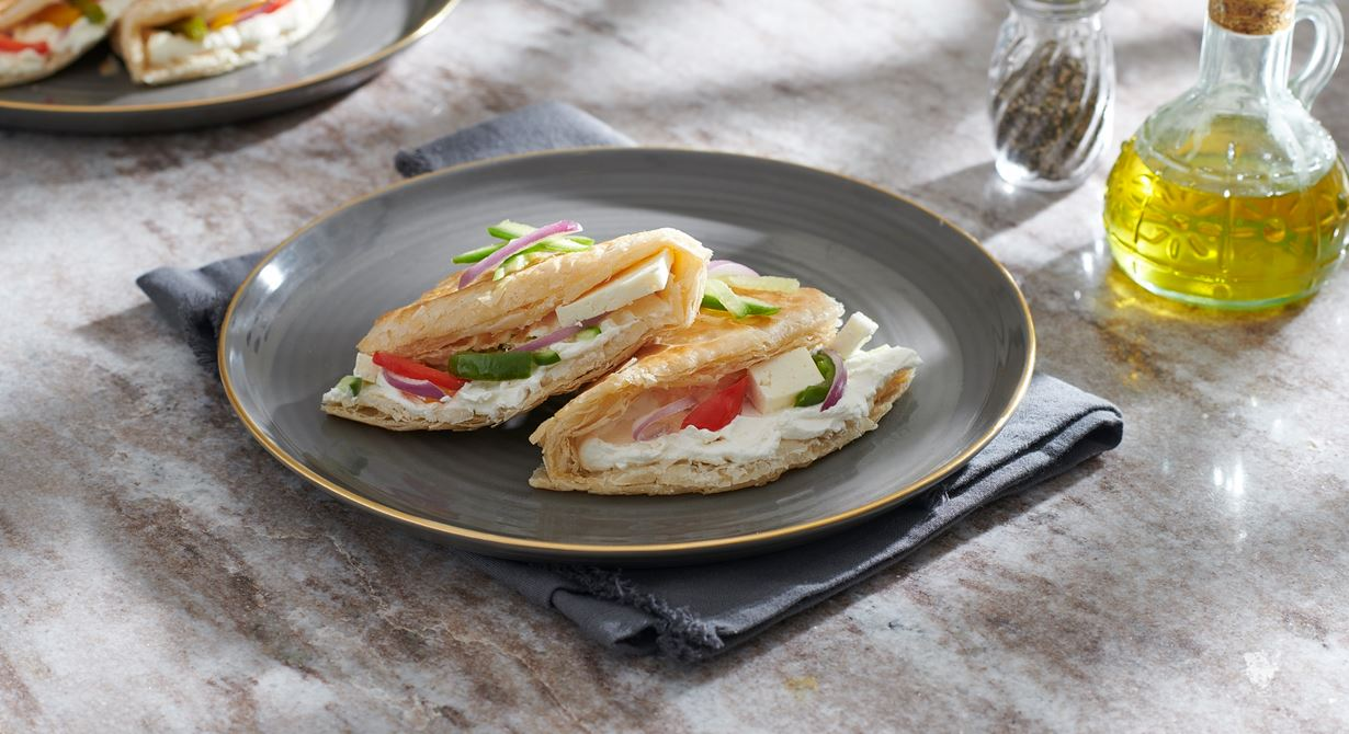 Paratha Sandwich with Labneh and Vegetables