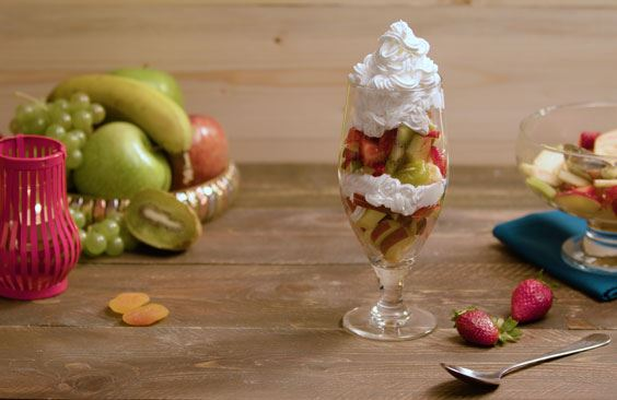 Fruit Salad with Puck whipping cream