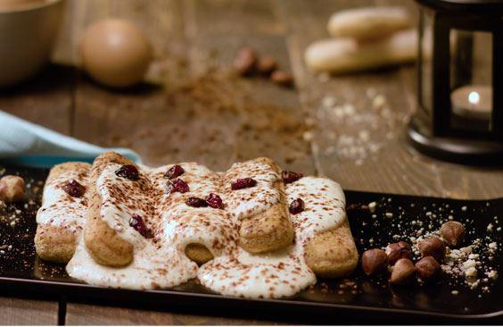 Tiramisu Cake with Puck Thick Cream
