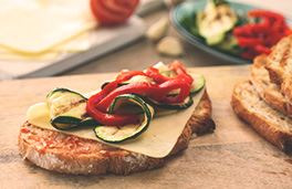 Havarti, Tomato and Grilled Vegetable Bruschetta