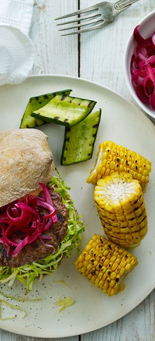 Beef Burger with Cabbage and Grilled Vegetables