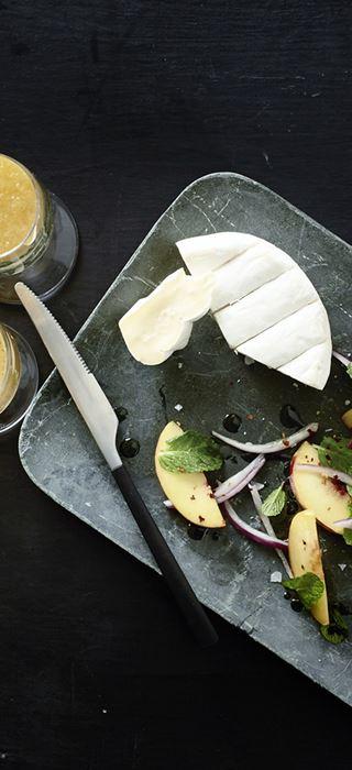 Bellini with Double Cream Brie & marinated peaches