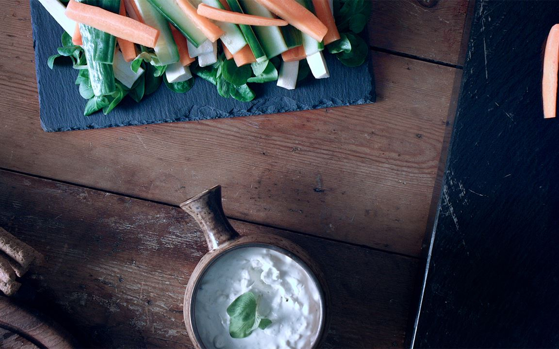Blue Cheese Dip with Root Vegetables