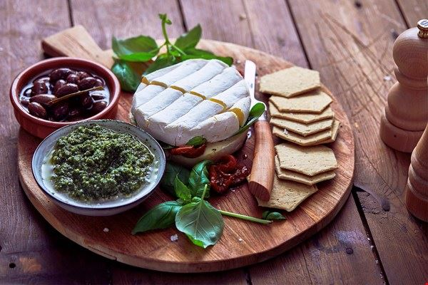 Double Cream Brie with semi-dried tomatoes and basil