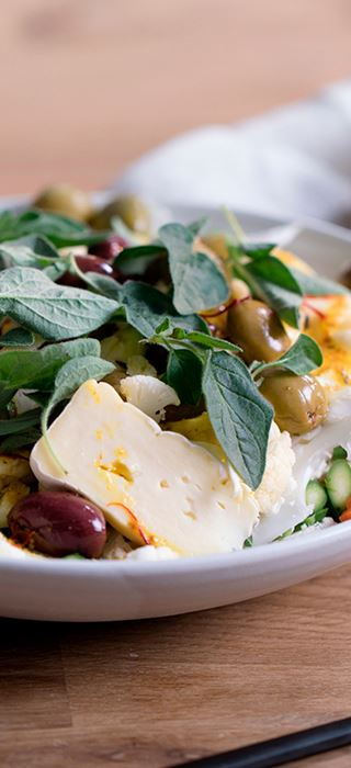 Cauliflower Salad with Saffron Vinaigrette and Double Cream Brie
