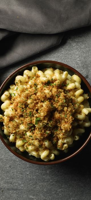 Creamiest Ever Mac and Cheese with Garlic Sourdough Crumb Topping