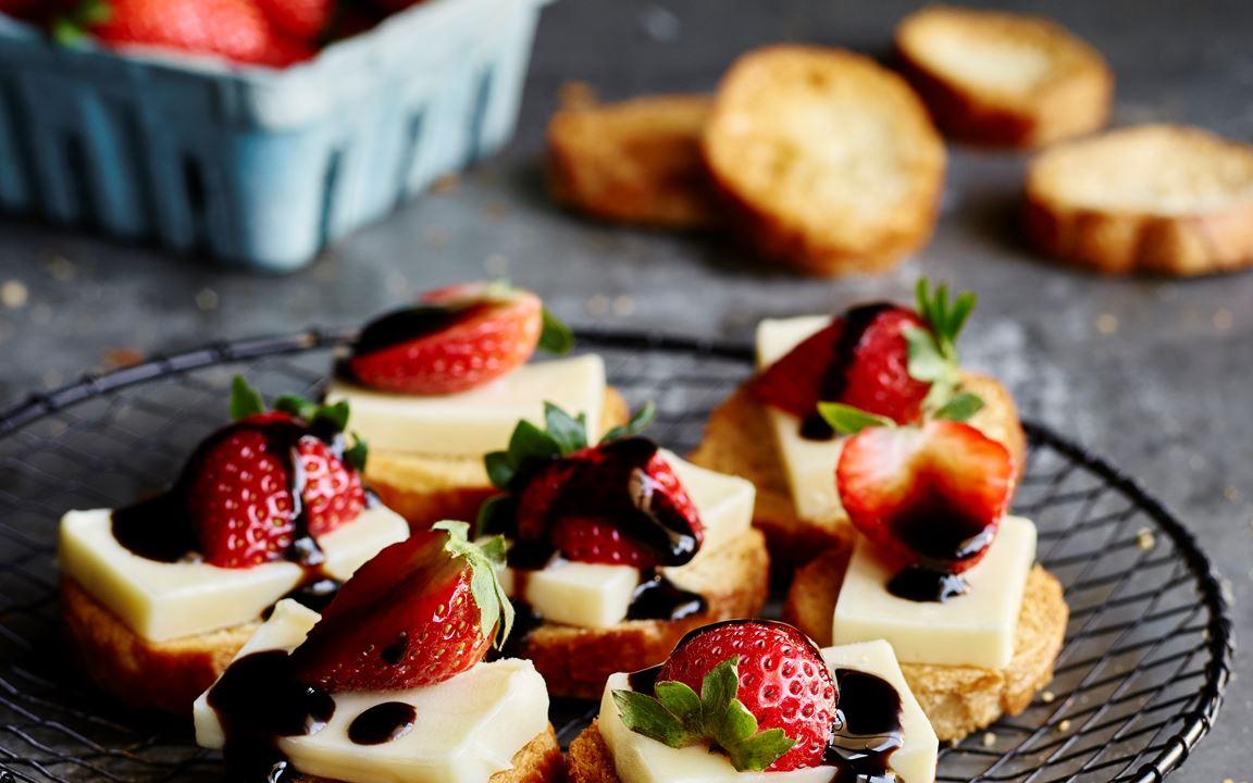 Creamy Havarti and strawberry crostini