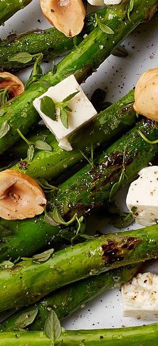 Crispy asparagus and Fetta Cubes