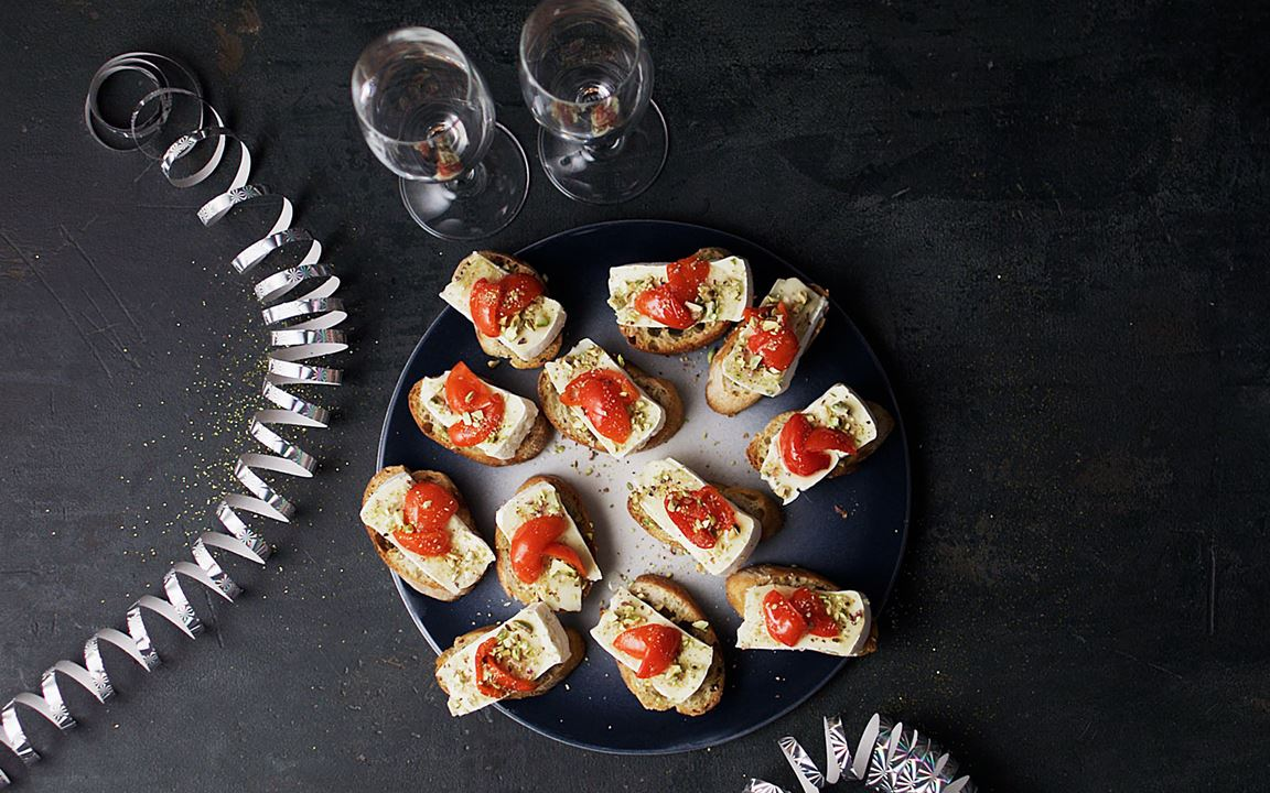Crostini with Double Cream Brie and peppadews