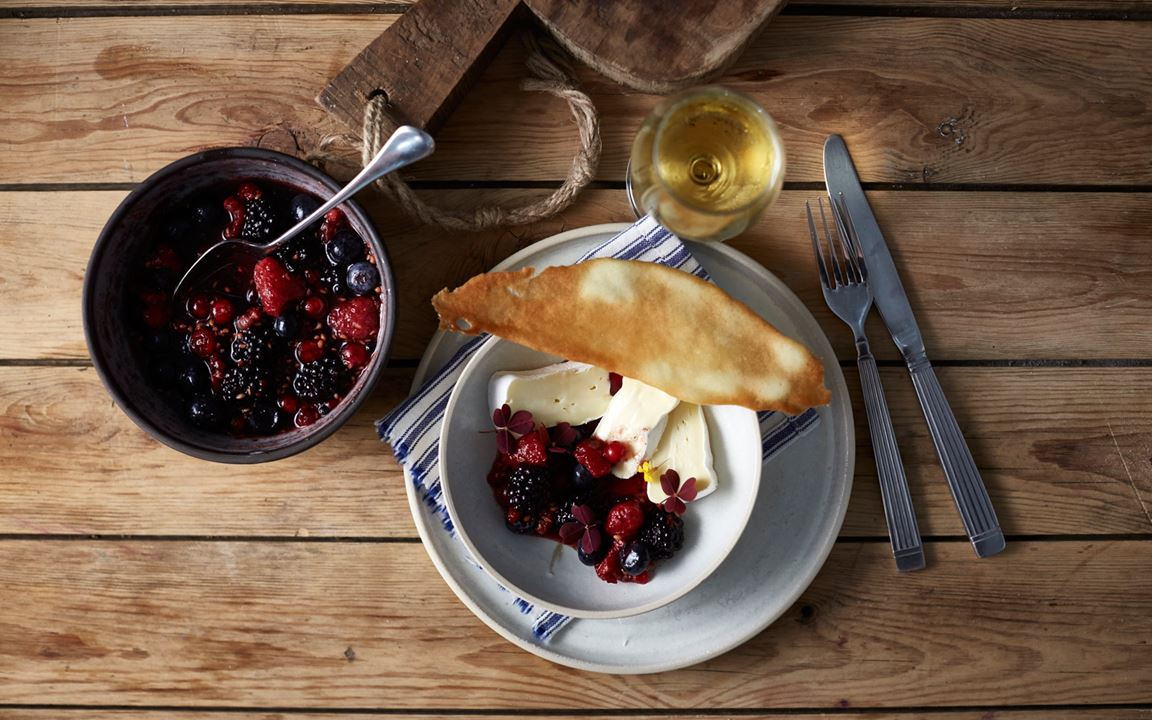 Double Cream Brie with raw autumn berry compote and crisp tuiles