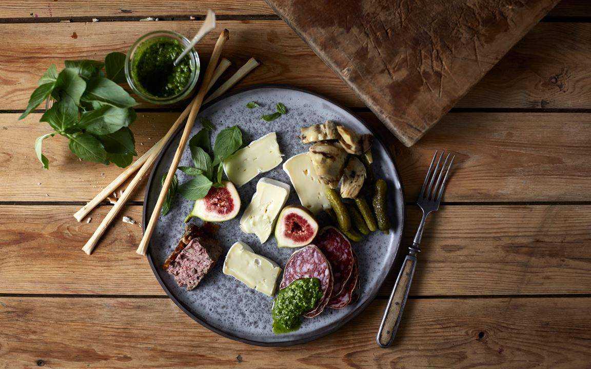 Double Cream Brie with salami, figs, pate, mixed pickles and pesto