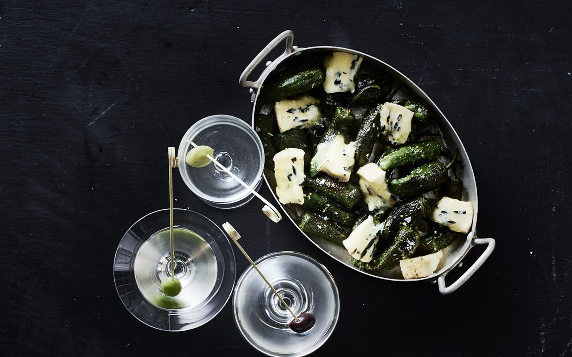 Dry Martini with Creamy Blue & padron peppers