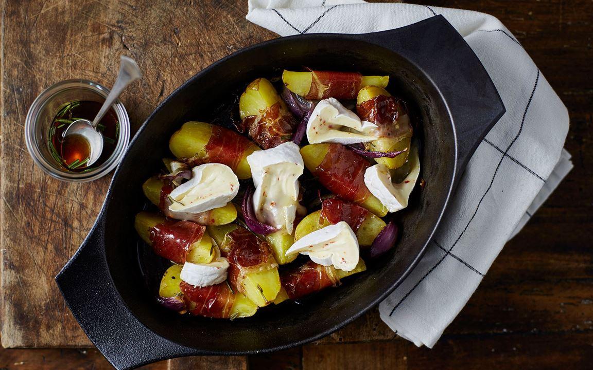 Gratin with Double Cream Chilli, Glazed Potatoes & Prosciutto