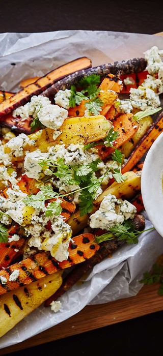Grilled Carrots with Blue Cheese