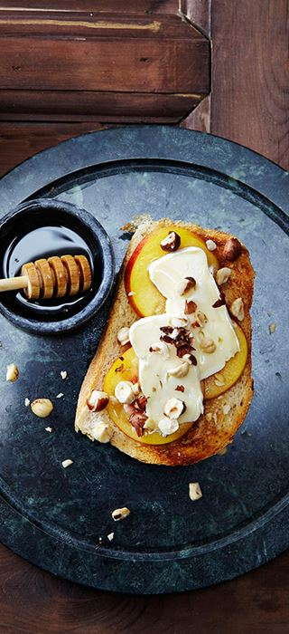 Open Breakfast Sandwich with Double Cream Brie & Apricots
