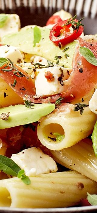 Pasta with sundried tomatoes, avo, prosciutto and Fetta Cubes