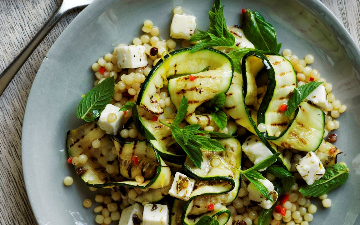 Pearl cous-cous with Fetta & grilled zucchini salad