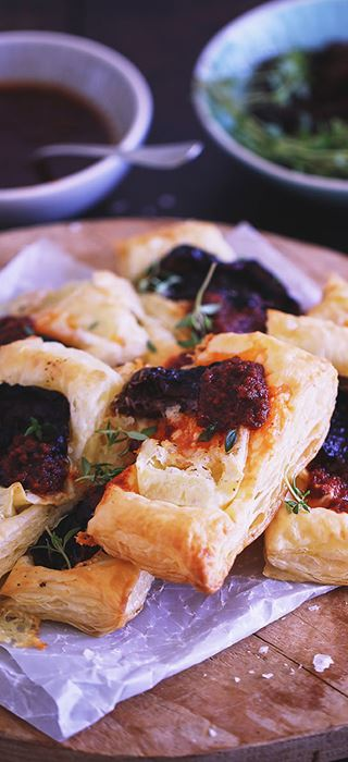 Puff Pastry with Double Cream Brie and Semi-Dried Tomatoes