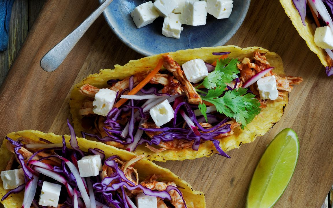 Spicy Chicken Tacos with Fetta & Slaw