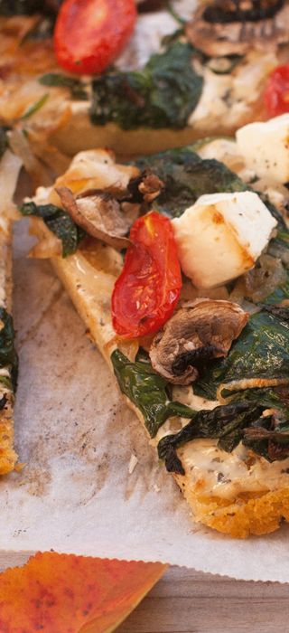 Vegetarian Polenta Pizza with Fetta