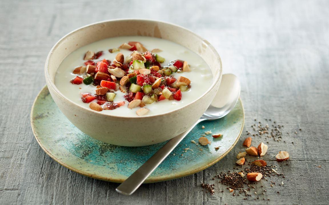Yoghurt with Elderflower Chia Seeds, Strawberries & Cucumber