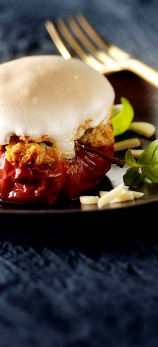 Baked Apples with Blue Cheese and Meringue Topping