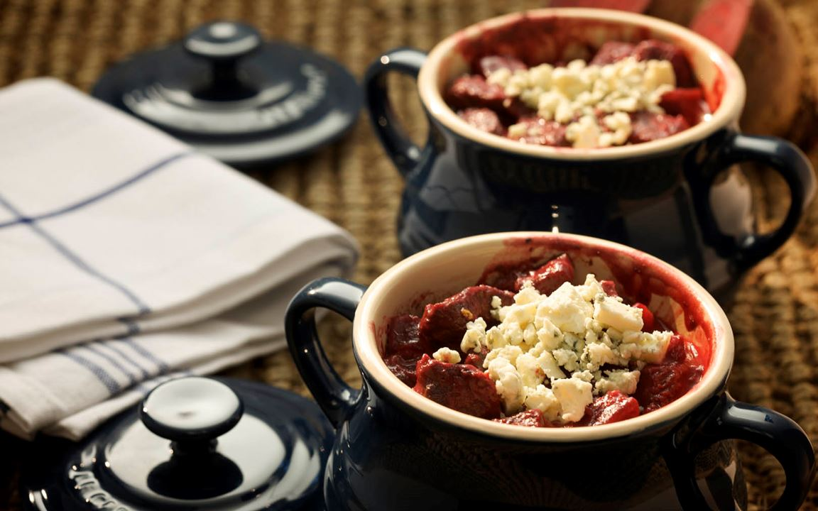 Beef and Beetroot Casserole with Blue Cheese