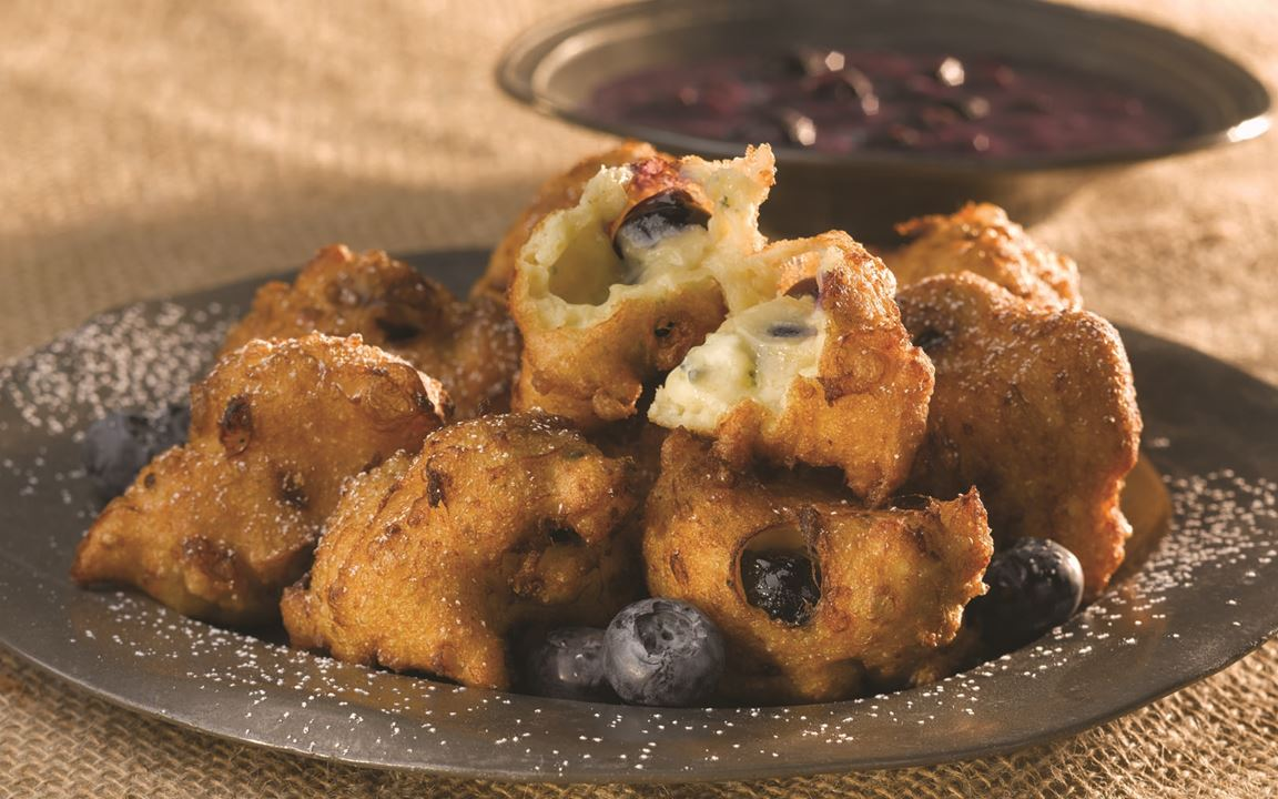 Blueberry Fritters with Blue Cheese and Apple Sauce