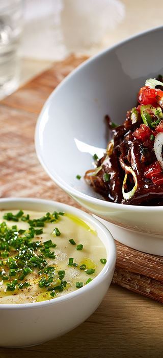 Braised Short Ribs with Cheddar Mashed Potatoes