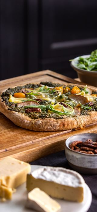 brie pizza with pear pecan and pesto
