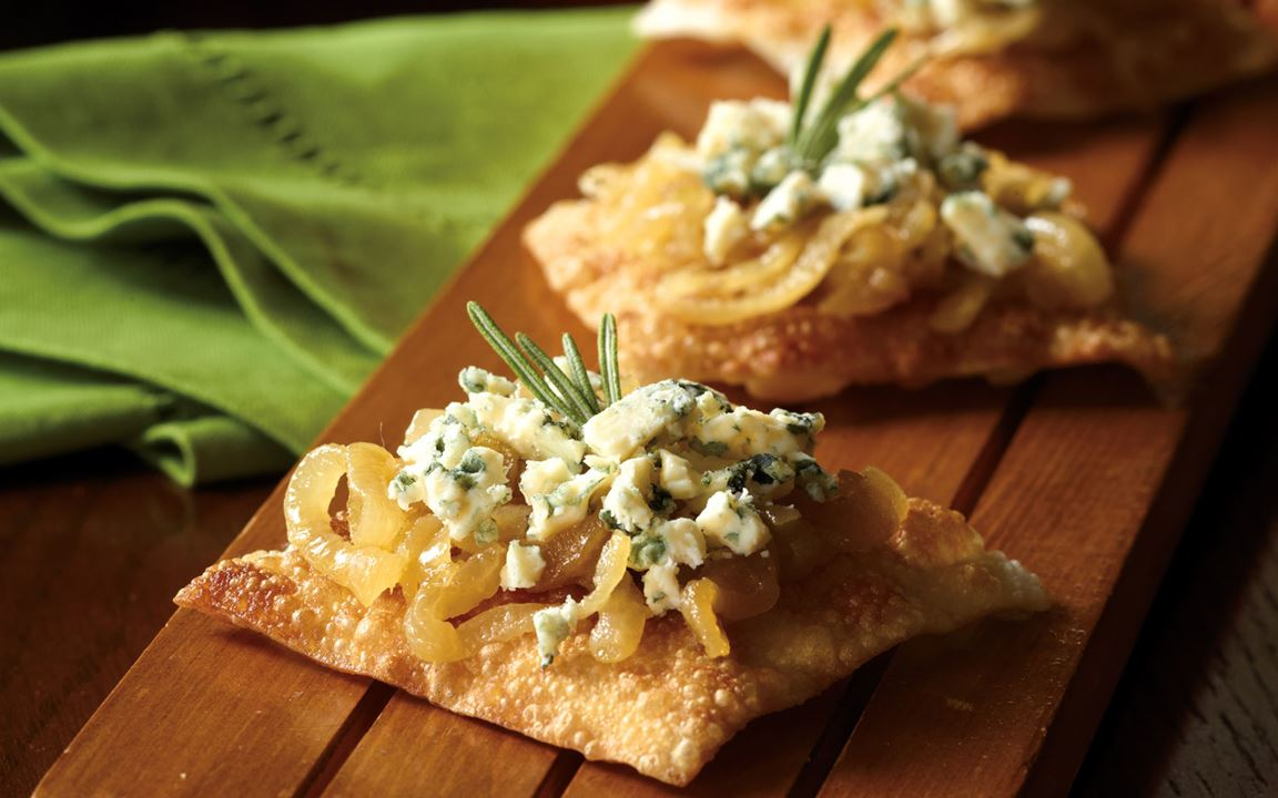Caramelized Onion Pizzettes with Rosemary Oil Drizzle