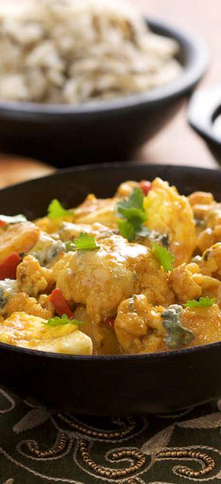 Cauliflower, Potato, Egg and Blue Curry