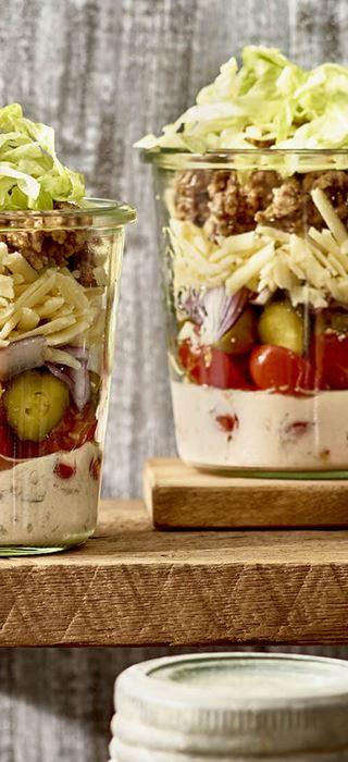 Cheeseburger Salad in a Jar