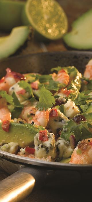 Chilli Prawns with Blue Cheese