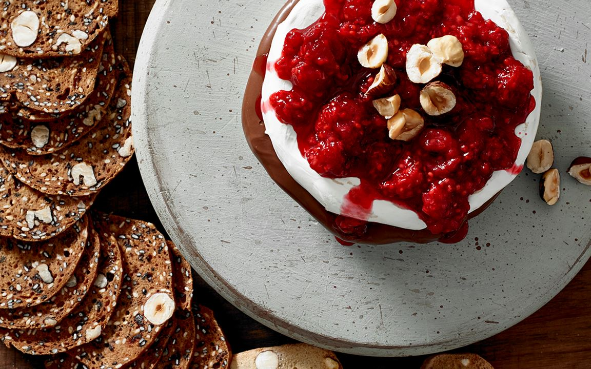 Chocolate Hazelnut  Filled Brie With Roasted Raspberries