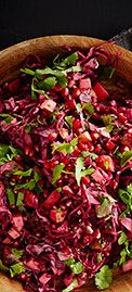 Coleslaw of red cabbage, beetroot and pomegranate seeds