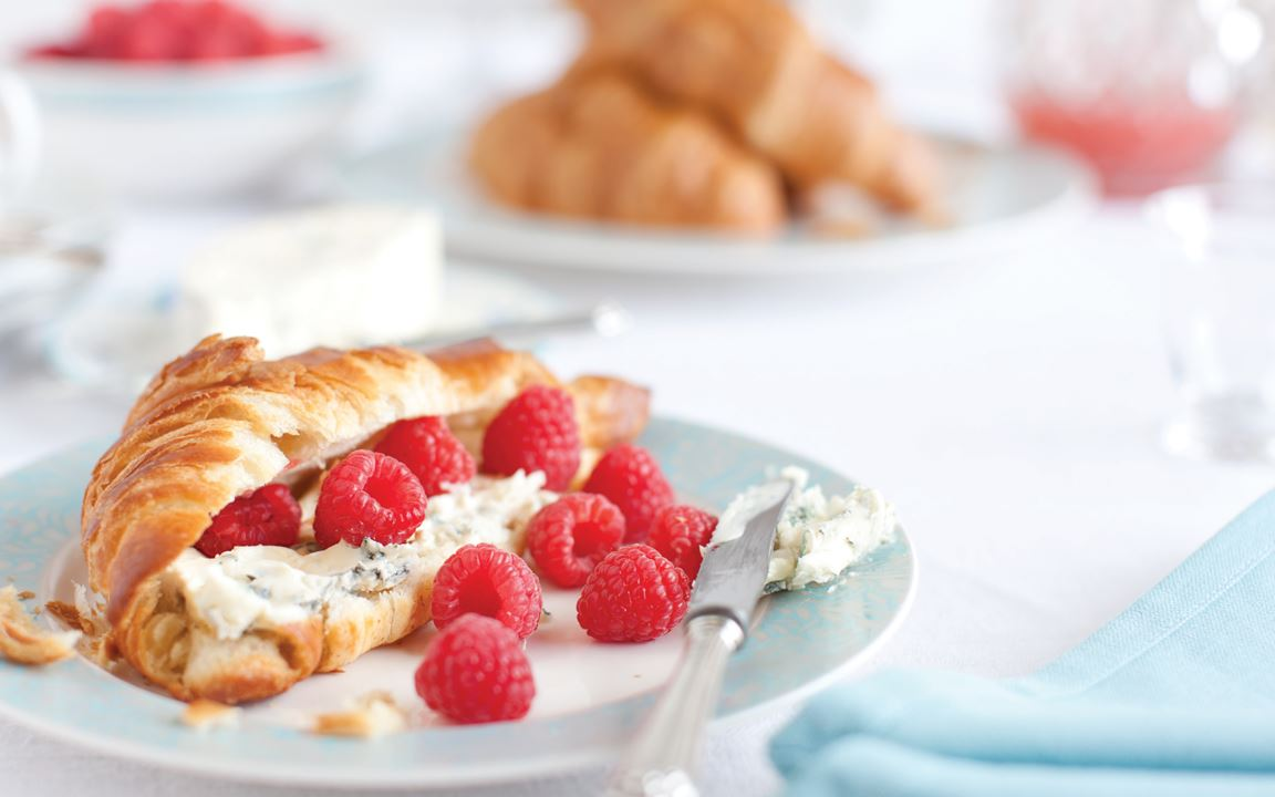 Croissants with Raspberries and Blue Cheese