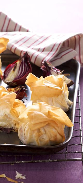 Filo Wrapped Camembert/Brie with Red Onion Chutney