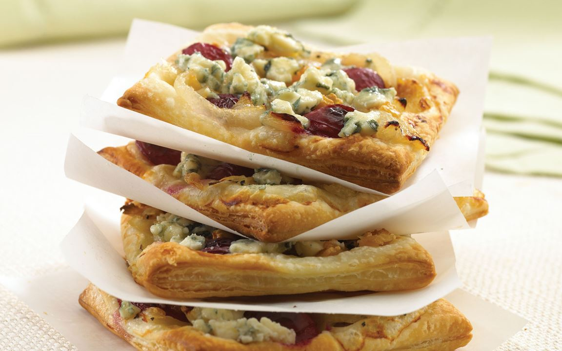 Grape and Blue Cheese Pizzettes