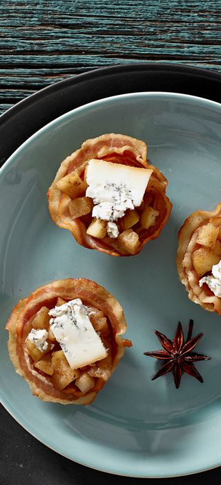 Pancetta Cups with Apples and Blue