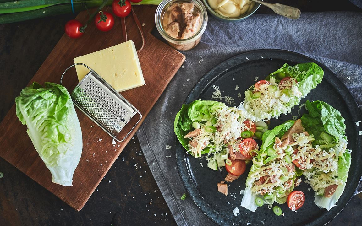 Salad Wraps with Tuna and Mature Cheddar