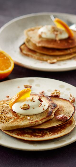 Seasonal pancakes with cinnamon and orange