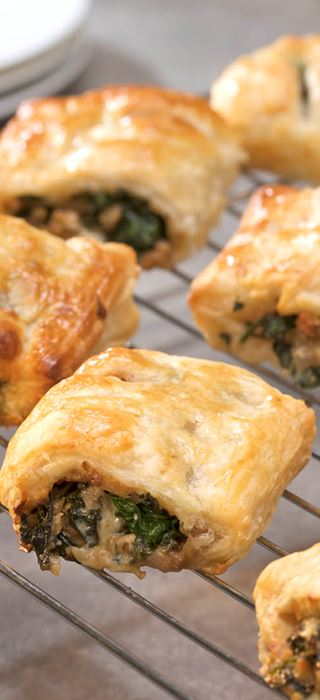 Spinach, Walnut and Blue Cheese Rolls