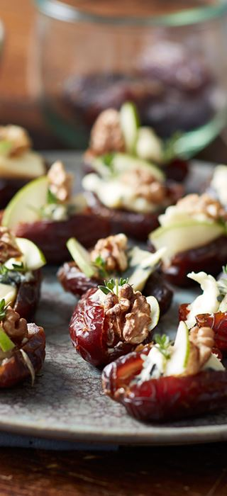Stuffed dates with Double Crème Blue, walnuts and pear