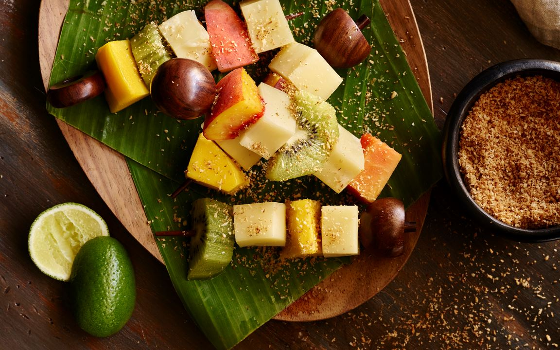 Tropical Fruit and Cheese Skewers