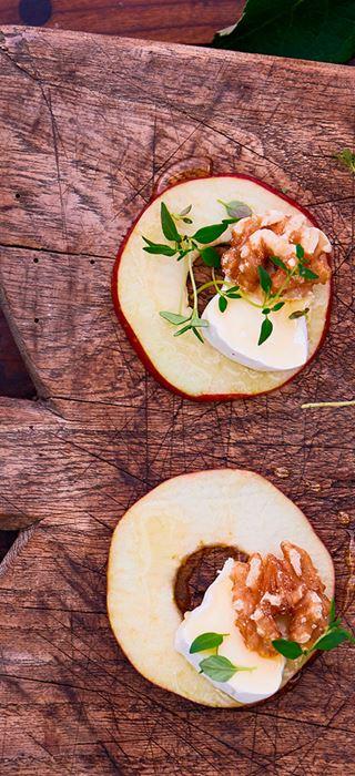 Honig-Apfelringe mit Walnüssen und Extra cremiger White