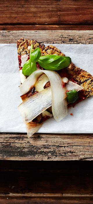 Karottenpizza mit Portobello-Pilzen und Chorizo