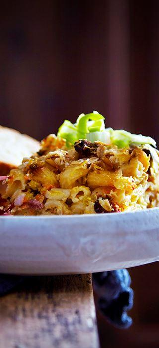 Macaroni and cheese med grøntsager og bacon